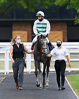 Winner of The British Stallion Studs EBF Upavon Fillies' Stakes  Alpinistar (white) ridden by Ryan Tate and trained by Sir Mark Prescott  is led into the Winners enclosure during Horse Racing at Salisbury Racecourse on 13th August 2020