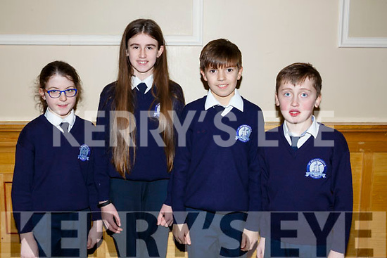 St Brendans Blennerville National school students attending the annual Noreen Lynch Credit Union Quiz in the Brandon Hotel on Sunday last. L-r Emily O'Brien, Kelly Fitzgerald, Daniel Sheehy and Brian Cavanagh.