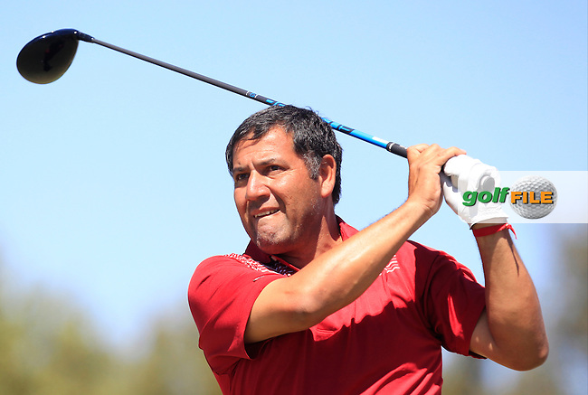 Ricardo Gonzalez (ARG) on the 1st tee during Round 4 of the Open de Espana  in Club de Golf el Prat, Barcelona on Sunday 17th May 2015.<br /> Picture:  Thos Caffrey / www.golffile.ie