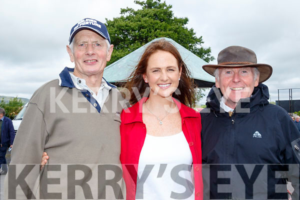 Grand Stand<br /> -----------------<br /> L-R Trainer John Mullane, Suzan O'Neill with chief medical officer Dr Joe Arthurs at the North Kerry Harriers point to point meeting at Ballybeggan race track, Tralee last Saturday.