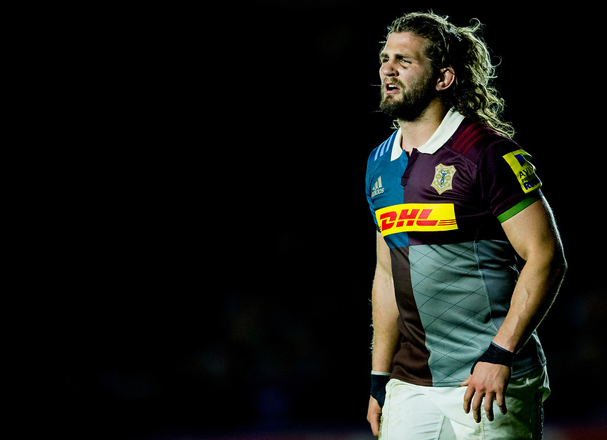 Harlequins' Luke Wallace<br /> <br /> Photographer Bob Bradford/CameraSport<br /> <br /> Aviva Premiership - Harlequins v Wasps - Friday April 28 2017 - The Stoop - London<br /> <br /> World Copyright &copy; 2017 CameraSport. All rights reserved. 43 Linden Ave. Countesthorpe. Leicester. England. LE8 5PG - Tel: +44 (0) 116 277 4147 - admin@camerasport.com - www.camerasport.com