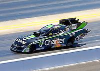 Sep 14, 2013; Charlotte, NC, USA; NHRA funny car driver Tony Pedregon during qualifying for the Carolina Nationals at zMax Dragway. Mandatory Credit: Mark J. Rebilas-