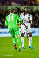 Bafetibis Gomis of Swansea looks dejected after missing a shot on goal during the Barclays Premier League match between Swansea City and West Ham United played at the Liberty Stadium, Swansea  on December 20th 2015