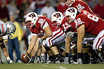 Wisconsin Badgers offensive line lines up during an NCAA college football game against the Ohio State Buckeyes on October 16, 2010 at Camp Randall Stadium in Madison, Wisconsin. The Badgers beat the Buckeyes 31-18. (Photo by David Stluka)