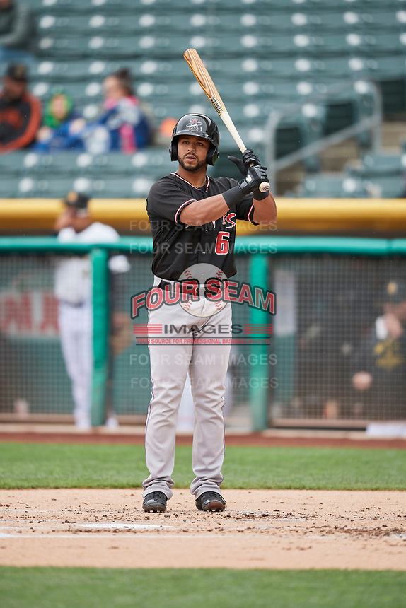 Jan Vazquez (6) of the Albuquerque Isotopes bats against the Salt Lake Bees at Smith's Ballpark on April 8, 2018 in Salt Lake City, Utah. Albuquerque defeated Salt Lake 11-4. (Stephen Smith/Four Seam Images)