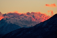 Fire in the sky as winter storm clouds clear over the Wasatch Mountains.