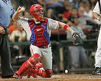 Phillies catcher Chris Coste on Saturday May 24th at Minute Maid Park in Houston, Texas. Photo by Andrew Woolley / Four Seam Images..