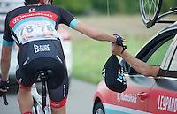 musette for Jesse Sergent (NZL)<br /> <br /> Eneco Tour 2013<br /> stage 2: Ardooie - Vorst (Brussel)<br /> 177km