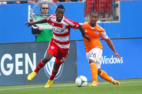Frisco, TX - MARCH 17: Je-Vaughn Watson #27 of FC Dallas in action against Corey Ashe #26 of Houston Dynamo at FC Dallas Stadium March 17, 2013 in Frisco, Texas. (©2013 Rick Yeatts)