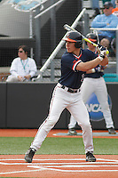 University of Virginia Cavaliers outfielder Jake McCarthy (31) at bat during a game against the University of Coastal Carolina Chanticleers at Springs Brooks Stadium on February 21, 2016 in Conway, South Carolina. Coastal Carolina defeated Virginia 5-4. (Robert Gurganus/Four Seam Images)