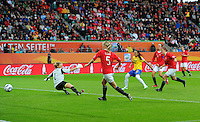 Marta (C) of team Brazil scores 3:0 against goalkeeper Ingrid Hjelmseth of Norway during the FIFA Women's World Cup at the FIFA Stadium in Wolfsburg, Germany on July 3rd, 2011.