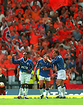 Rangers celebrate in a sea of Orange as tribute to the dutch connection, Aberdeen v Rangers Scottish Cup Final 2000