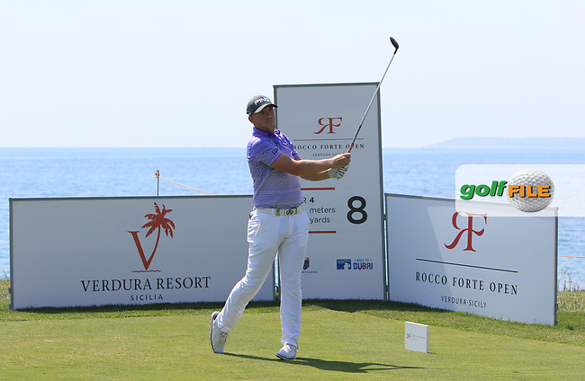 Matt Wallace (ENG) on the 8th tee during Round 1 of The Rocco Forte Open  at Verdura Golf Club on Thursday 18th May 2017.<br /> Photo: Golffile / Thos Caffrey.<br /> <br /> All photo usage must carry mandatory copyright credit     (&copy; Golffile | Thos Caffrey)