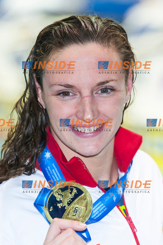 HOSSZU Katinka HUN gold medal<br /> Women's 100m backstroke final<br /> Netanya, Israel, Wingate Institute<br /> LEN European Short Course Swimming Championships  Dec. 2 - 6, 2015 Day02 Dec. 3nd<br /> Nuoto Campionati Europei di nuoto in vasca corta<br /> Photo Insidefoto