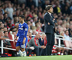 Chelsea's Antonio Conte looks on as Eden Hazard gets substituted during the Premier League match at the Emirates Stadium, London. Picture date September 24th, 2016 Pic David Klein/Sportimage