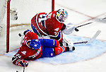 31 March 2010: Montreal Canadiens goaltender Carey Price gives up a video-reviewed goal in the second period to the Carolina Hurricanes at the Bell Centre in Montreal, Quebec, Canada. The Hurricanes defeated the Canadiens 2-1 in their last meeting of the regular season. Mandatory Credit: Ed Wolfstein Photo