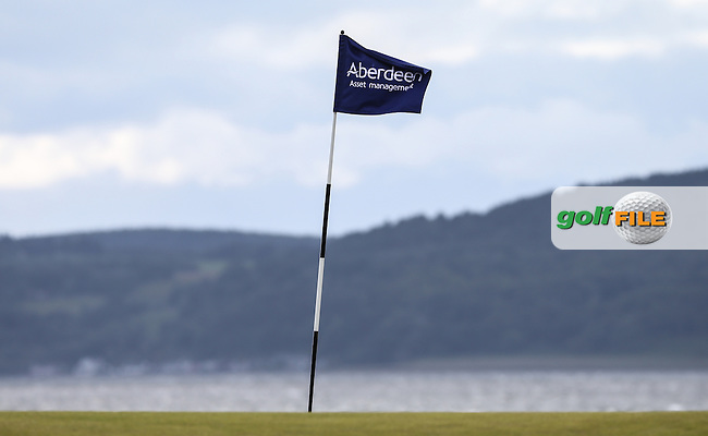 Pin flag on the 3rd  during Round One of the 2016 Aberdeen Asset Management Scottish Open, played at Castle Stuart Golf Club, Inverness, Scotland. 07/07/2016. Picture: David Lloyd | Golffile.<br /> <br /> All photos usage must carry mandatory copyright credit (&copy; Golffile | David Lloyd)