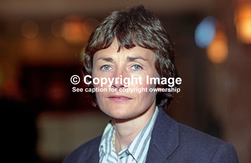 Estelle Morris, MP, Labour Party, UK, October 1992, annual conference, 19921026EM<br /> <br /> Copyright Image from Victor Patterson, 54 Dorchester Park, <br /> Belfast, UK, BT9 6RJ<br /> <br /> t1: +44 28 9066 1296 (from Rep of Ireland 048 9066 1296)<br /> t2: +44 28 9002 2446 (from Rep of Ireland 048 9002 2446)<br /> m: +44 7802 353836<br /> <br /> e: victorpatterson@me.com<br /> www.victorpatterson.com<br /> <br /> Please see my Terms and Conditions of Use at www.victorpatterson.com. It is IMPORTANT that you familiarise yourself with them.<br /> <br /> Images used on the Internet must be visibly watermarked i.e. &copy; Victor Patterson<br /> within the body of the image and copyright metadata must not be deleted. Images <br /> used on the Internet have a size restriction of 4kbs and will be chargeable at current<br />  NUJ rates unless agreed otherwise.<br /> <br /> This image is only available for the use of the download recipient i.e. television station, newspaper, magazine, book publisher, etc, and must not be passed on to any third <br /> party. It is also downloaded on condition that each and every usage is notified within 7 days to victorpatterson@me.com<br /> <br /> The right of Victor Patterson to be identified as the author is asserted in accordance with The Copyright Designs And Patents Act (1988). All moral rights are asserted