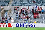 Stockholm 2014-04-27 Fotboll Allsvenskan Djurg&aring;rdens IF - IF Brommapojkarna :  <br /> Brommapojkarnas supporter p&aring; plats i Tele2 Arena under matchen mot Djurg&aring;rden<br /> (Foto: Kenta J&ouml;nsson) Nyckelord:  Djurg&aring;rden DIF Tele2 Arena Brommapojkarna BP supporter fans publik supporters