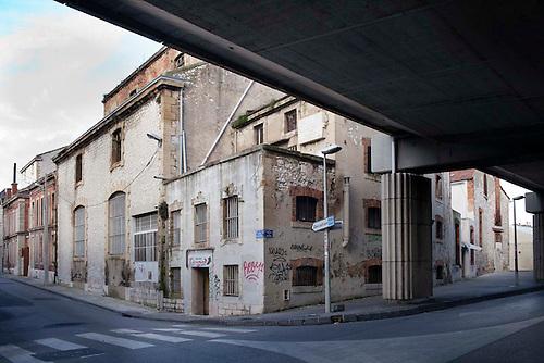 Marseille, Jan 2014. Bougainville, quartier des crottes, avant l'execution de la phase 2 du plan de renovation Euromeditéranee