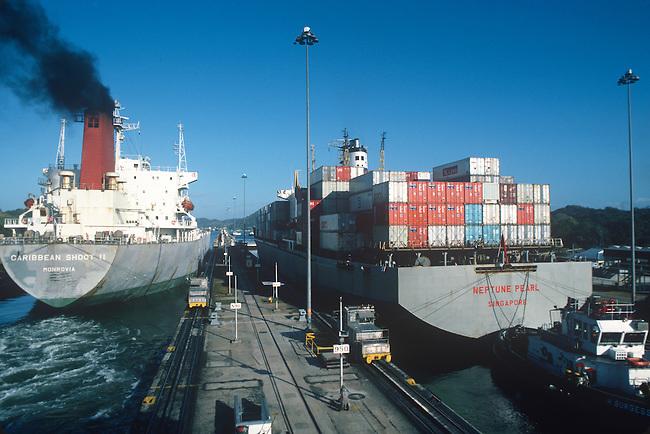 Container Ships, Miraflores Locks, Panama Canal, Panama
