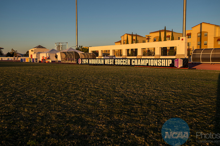 6 NOV 2014: San Diego State University takes on the University of Wyoming during the 2014 Mountain West Women's Soccer Championship held at San Diego State University Sports Deck in San Diego, CA. Justin Tafoya/NCAA Photos