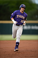 NWA Democrat-Gazette/ANDY SHUPE<br /> LSU catcher Saul Garza rounds the bases Friday, May 10, 2019, after hitting a 2-run home run during the second inning against Arkansas at Baum-Walker Stadium in Fayetteville. Visit nwadg.com/photos to see more photographs from the game.
