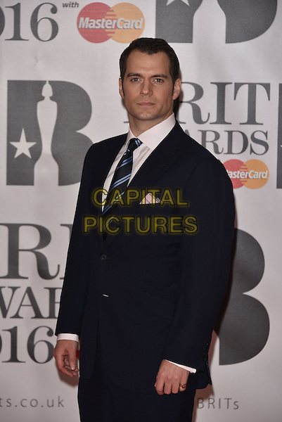 LONDON, ENGLAND - FEBRUARY 24: Henry Cavill attends the BRIT Awards 2016 at The O2 Arena on February 24, 2016 in London, England<br /> CAP/PL<br /> &copy;Phil Loftus/Capital Pictures