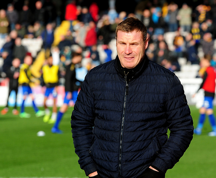 Mansfield Town manager David Flitcroft during the pre-match warm-up<br /> <br /> Photographer Andrew Vaughan/CameraSport<br /> <br /> The EFL Sky Bet League Two - Lincoln City v Mansfield Town - Saturday 24th November 2018 - Sincil Bank - Lincoln<br /> <br /> World Copyright © 2018 CameraSport. All rights reserved. 43 Linden Ave. Countesthorpe. Leicester. England. LE8 5PG - Tel: +44 (0) 116 277 4147 - admin@camerasport.com - www.camerasport.com