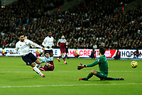 29th January 2020; London Stadium, London, England; English Premier League Football, West Ham United versus Liverpool; Alex Oxlade-Chamberlain of Liverpool shoots and scores for 0-2 in the 52nd minute