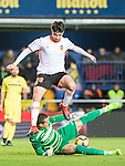 Carlos Soler Barragan (r) of Valencia CF battles for the ball with goalkeeper Sergio Asenjo Andrés and Mario Gaspar Pérez Martínez (l) of Villarreal CF during their La Liga match between Villarreal CF and Valencia CF at the Estadio de la Cerámica on 21 January 2017 in Villarreal, Spain. Photo by Maria Jose Segovia Carmona / Power Sport Images