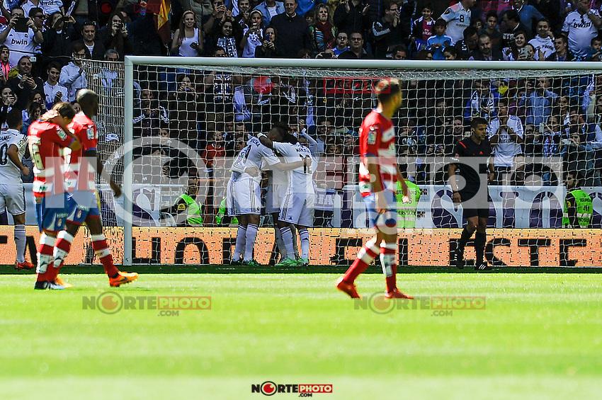 Real Madrid´s players during 2014-15 La Liga match between Real Madrid and Granada at Santiago Bernabeu stadium in Madrid, Spain. April 05, 2015. (ALTERPHOTOS/Luis Fernandez) /NORTEphoto.com