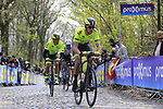 Wallonie-Bruxelles riders on the the first ascent of the Kemmelberg during the 2019 Gent-Wevelgem in Flanders Fields running 252km from Deinze to Wevelgem, Belgium. 31st March 2019.<br /> Picture: Eoin Clarke | Cyclefile<br /> <br /> All photos usage must carry mandatory copyright credit (© Cyclefile | Eoin Clarke)