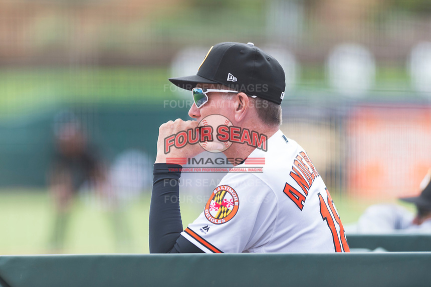 Glendale Desert Dogs manager Dave Anderson (18), of the Baltimore Orioles organization, in the dugout during an Arizona Fall League game against the Scottsdale Scorpions at Camelback Ranch on October 16, 2018 in Glendale, Arizona. Scottsdale defeated Glendale 6-1. (Zachary Lucy/Four Seam Images)