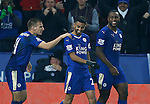 Riyad Mahrez of Leicester City (c) celebrates scoring the second goal - English Premier League - Leicester City vs Chelsea - King Power Stadium - Leicester - England - 14th December 2015 - Picture Simon Bellis/Sportimage