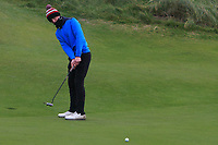 Joshua McCabe (Roganstown) on the 12th green during Round 2 of the Ulster Boys Championship at Portrush Golf Club, Portrush, Co. Antrim on the Valley course on Wednesday 31st Oct 2018.<br /> Picture:  Thos Caffrey / www.golffile.ie<br /> <br /> All photo usage must carry mandatory copyright credit (&copy; Golffile | Thos Caffrey)