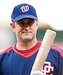 15 September 2007: Washington Nationals catcher Brian Schneider warms up prior to facing the Atlanta Braves at Robert F. Kennedy Memorial Stadium in Washington, DC. The Nationals defeated the Braves 7-4 in the second game of their 3-game series...Mandatory Photo Credit: Ed Wolfstein Photo