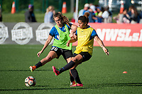 Kansas City, MO - Saturday May 27, 2017: Alexa Newfield, Desiree Scott during a regular season National Women's Soccer League (NWSL) match between FC Kansas City and the Washington Spirit at Children's Mercy Victory Field.