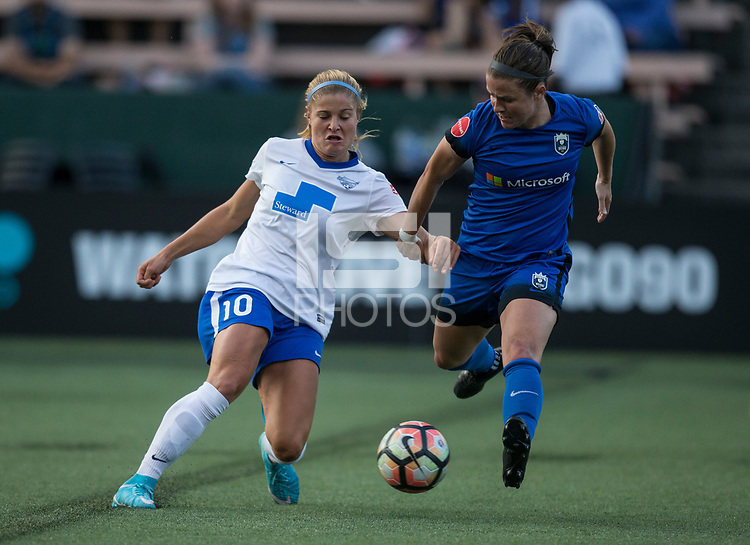 Seattle, WA - Saturday July 15, 2017: Rosie White, Christine Nairn during a regular season National Women's Soccer League (NWSL) match between the Seattle Reign FC and the Boston Breakers at Memorial Stadium.