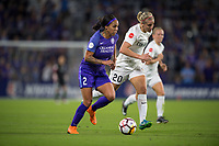 Orlando, FL - Saturday March 24, 2018: Orlando Pride forward Sydney Leroux (2) dribbles away from Utah Royals forward Elise Thorsnes (20) during a regular season National Women's Soccer League (NWSL) match between the Orlando Pride and the Utah Royals FC at Orlando City Stadium. The game ended in a 1-1 draw.