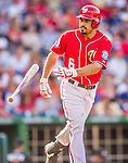 19 September 2015: Washington Nationals second baseman Anthony Rendon tosses his bat after being walked in the 3rd inning against the Miami Marlins at Nationals Park in Washington, DC. The Nationals defeated the Marlins 5-2 in the third game of their 4-game series. Mandatory Credit: Ed Wolfstein Photo *** RAW (NEF) Image File Available ***