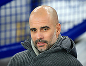 6th February 2019, Goodison Park, Liverpool, England; EPL Premier League Football, Everton versus Manchester City; Manchester City manager Pep Guardiola looks on from his seat in the dugout prior to the kick off