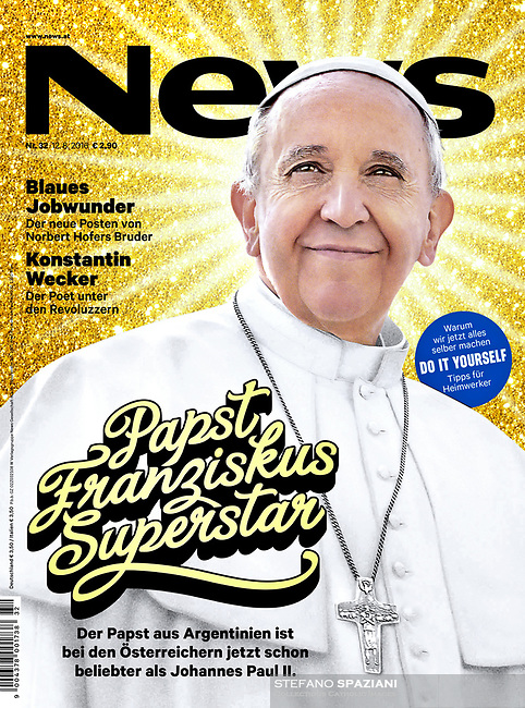 News Austrian Magazine Pope Francis illustration of a photo by Stefano Spaziani. 12 August 2016.