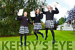 Martha Fitzgerald, Tova Buckley and Caoimhe Crowley delighted to finally have their Junior Cert results in Killarney Community College on Wednesday