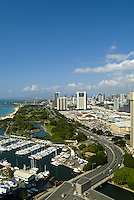 View of Ala Moana beach park and Ala Wai boat harbor with Ala moana shopping center and blvd. from above