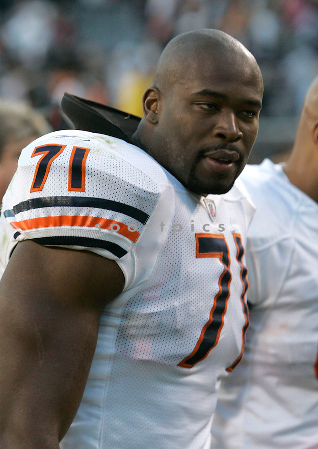 ISRAEL IDONIJE, of the Chicago Bears in action during the Bears game against the Kansas CIty Chiefs on September 16, 2007 in Chicago, Illinois...RAVENS win 26-23..SportPics