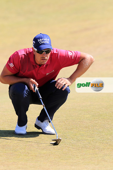 Henrik STENSON (SWE) lines up his putt on the 9th green during Saturday's Round 3 of the 2015 U.S. Open 115th National Championship held at Chambers Bay, Seattle, Washington, USA. 6/20/2015.<br /> Picture: Golffile | Eoin Clarke<br /> <br /> <br /> <br /> <br /> All photo usage must carry mandatory copyright credit (&copy; Golffile | Eoin Clarke)