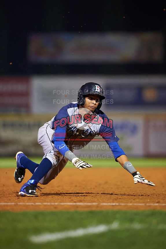 Brooklyn Cyclones shortstop Alfredo Reyes (8) slides into third during a game against the Tri-City ValleyCats on September 1, 2015 at Joseph L. Bruno Stadium in Troy, New York.  Tri-City defeated Brooklyn 5-4.  (Mike Janes/Four Seam Images)