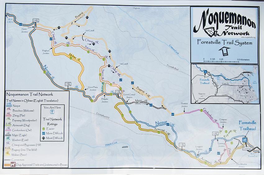 A map of the nordic ski trails of the Noquemanon Trails network in Marquette Michigan.