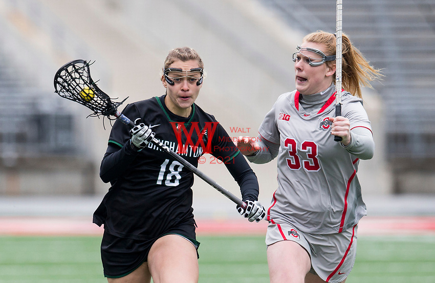 The Binghamton women's lacrosse team compete in the Horseshoe against the Ohio State University.